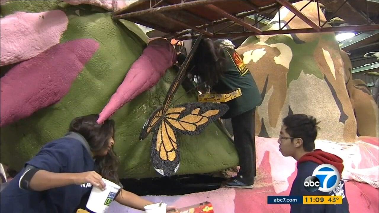 Volunteers Make Last Minute Preparations on Rose Parade Floats